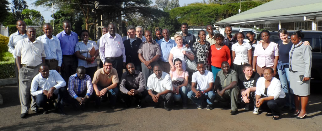 A delegation of 5 members from Caritas Foligno (Italy) pose for a group photo with the Staff of Caritas Nyeri.   In their Company was the Director of Caritas Kenya Mr. Stephen Kituku and the Regional Co-ordinator of Caritas Italiana Mr. Angelo Pittaluga.