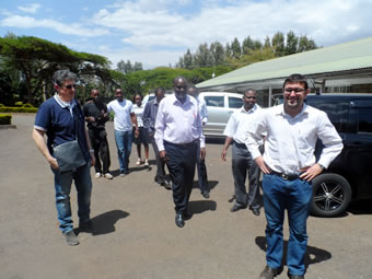On arrival at Caritas Nyeri:  Left:  The Director of Caritas Foligno Mr. Mauro Masciotti; Centre: The Director of Caritas Kenya Mr. Stephen Kituku (in a purple shirt), Right: Caritas Italiana Regional Co-ordinator Mr. Angelo Pittaluga.