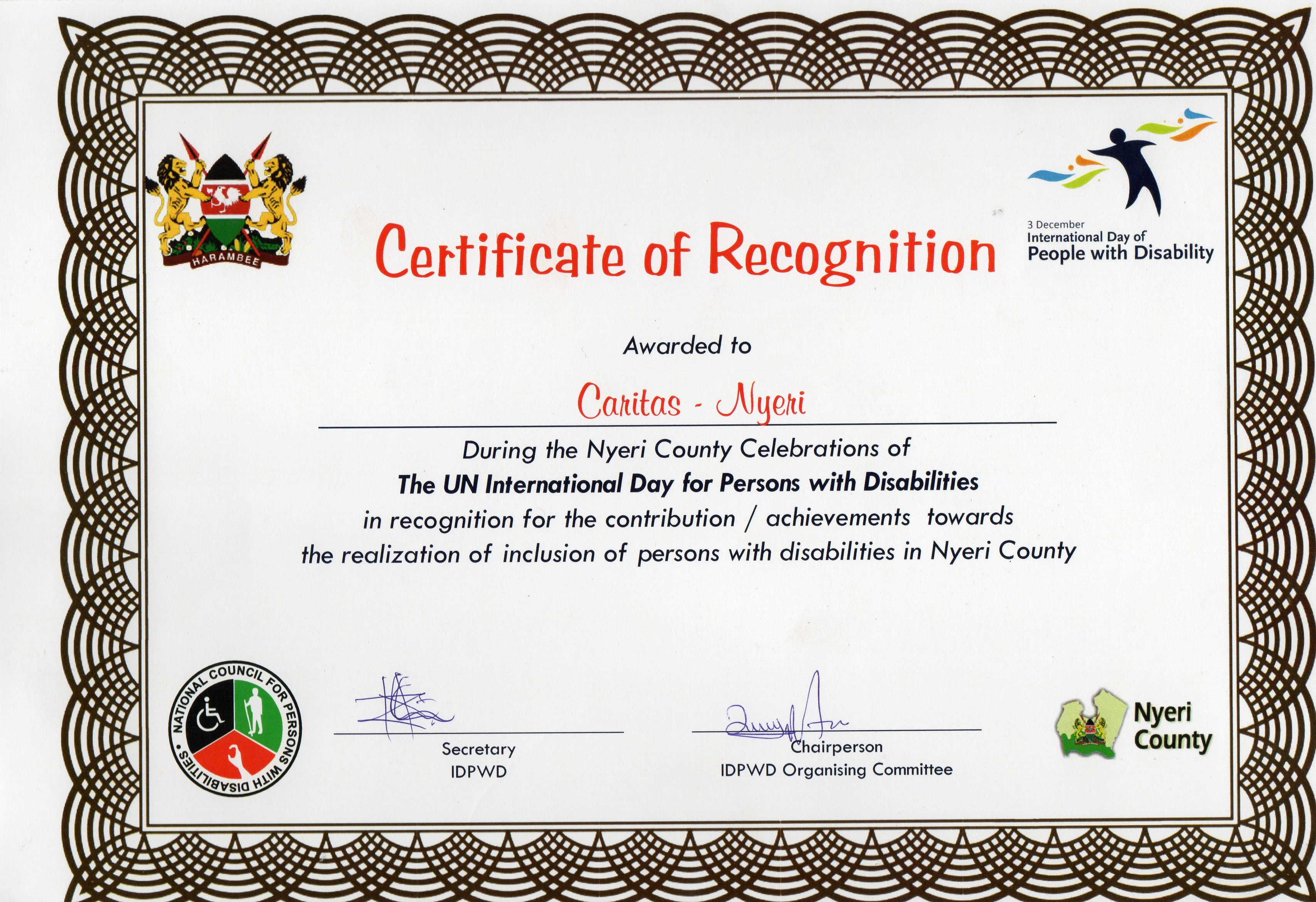 Caritas Mental Health Programme certificate of  recognition